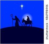 mary and joseph flee to egypt | Shutterstock .eps vector #486998446