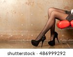 beautiful shapely female legs... | Shutterstock . vector #486999292