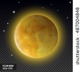 yellow moon. realistic detailed ... | Shutterstock .eps vector #487004848