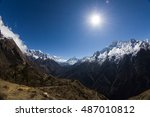 view of high himalayan... | Shutterstock . vector #487010812