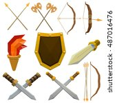 colorful vector set of medieval ... | Shutterstock .eps vector #487016476
