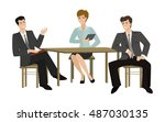 two young men and woman talking ...   Shutterstock . vector #487030135
