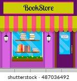 bookshop front or bookstore...   Shutterstock .eps vector #487036492