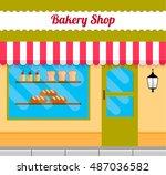 bakery facade in flat style.... | Shutterstock .eps vector #487036582