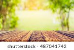 blur image of wood table and ... | Shutterstock . vector #487041742