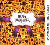 seamless pattern of halloween...   Shutterstock .eps vector #487043686