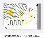 colorful trend neo memphis... | Shutterstock .eps vector #487058362