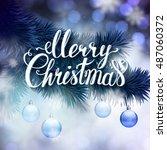 blue christmas greeting card... | Shutterstock .eps vector #487060372