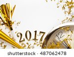 new year 2017 decoration on... | Shutterstock . vector #487062478