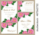 set of wedding cards with... | Shutterstock .eps vector #487063732