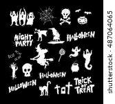 happy halloween poster  banner  ...   Shutterstock .eps vector #487064065