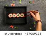 traditional japanese cuisine ... | Shutterstock . vector #487069135