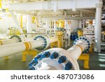 valve and pipe line in oil and... | Shutterstock . vector #487073086
