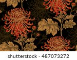 vector seamless floral pattern. ... | Shutterstock .eps vector #487073272
