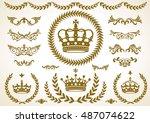 crown laurel icon  vector | Shutterstock .eps vector #487074622