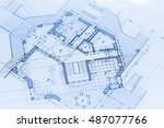 architecture blueprints   house ... | Shutterstock . vector #487077766