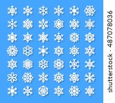 cute snowflake collection... | Shutterstock .eps vector #487078036
