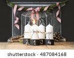 four advent christmas candles...   Shutterstock . vector #487084168