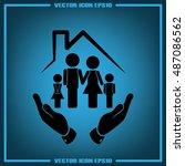 family house icon vector... | Shutterstock .eps vector #487086562