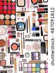 decorative cosmetics  top view | Shutterstock . vector #487091812