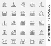 Travel Landmarks Icons Set....