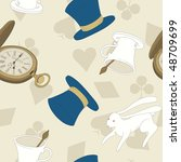 Stock vector vector seamless pattern with top hat white rabbit pocket watch and tea cup token of alice in 48709699