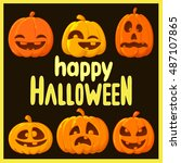 happy halloween card | Shutterstock . vector #487107865