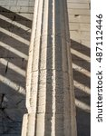 Small photo of Doric column details of the temple of Hephaestus in Ancient Agora, Athens, Greece