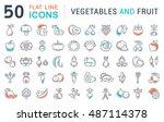 set vector line icons in flat... | Shutterstock .eps vector #487114378