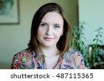 closeup portrait of elegant... | Shutterstock . vector #487115365