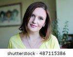 closeup portrait of elegant... | Shutterstock . vector #487115386