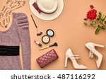 fashion woman clothes... | Shutterstock . vector #487116292