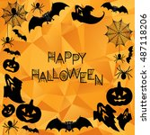 halloween background. vector... | Shutterstock .eps vector #487118206