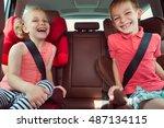 happy kids  adorable girl with... | Shutterstock . vector #487134115