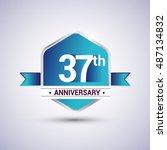 template logo 37th anniversary... | Shutterstock .eps vector #487134832