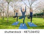 three young women standing in ...   Shutterstock . vector #487136452