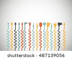 plug wire cable computer... | Shutterstock .eps vector #487139056