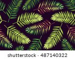 seamless pattern with palm... | Shutterstock .eps vector #487140322