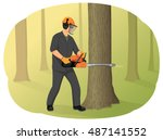 Logger In Helmet Cutting Tree...