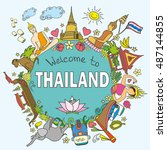 welcome to thailand . set thai ... | Shutterstock . vector #487144855