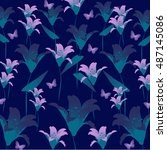 elegance pattern with flowers.... | Shutterstock .eps vector #487145086