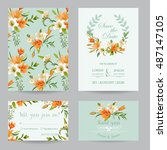 save the date card   wedding... | Shutterstock .eps vector #487147105