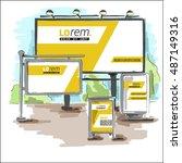 yellow outdoor advertising... | Shutterstock .eps vector #487149316