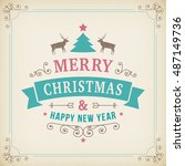 merry christmas vintage line... | Shutterstock .eps vector #487149736