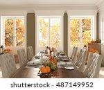 cozy nordic kitchen in an... | Shutterstock . vector #487149952