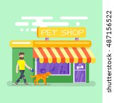 Stock vector vector flat style illustration of bearded man leading the dog to the pet shop 487156522