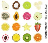 set of fresh hand drawn fruits... | Shutterstock .eps vector #487158562