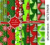 set of christmas seamless... | Shutterstock .eps vector #487159648