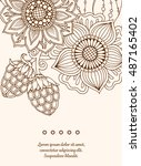 vintage card with detailed hand ... | Shutterstock .eps vector #487165402