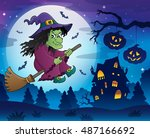 witch on broom theme image 7  ... | Shutterstock .eps vector #487166692